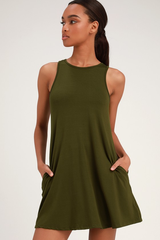 3bbb962063d Cute Washed Olive Dress - Green Swing Dress - Green Casual Dress