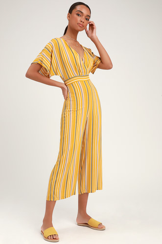 d0932ce3e8 Vacation Bae Mustard Yellow Striped Short Sleeve Jumpsuit