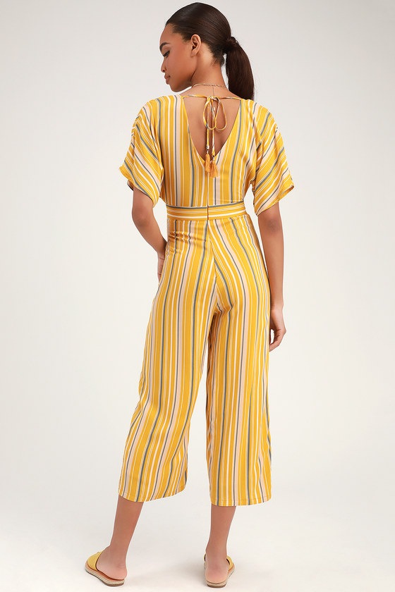 30c9458f2b Cute Jumpsuit - Mustard Yellow Striped Jumpsuit - Casual Jumpsuit