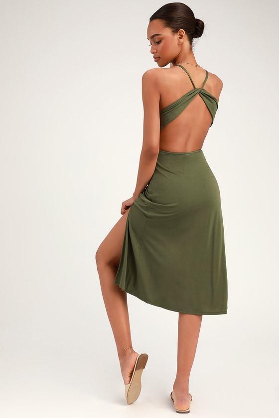 5a544015d000 Cute Jersey Knit Dress - Olive Green Dress - Backless Midi Dress