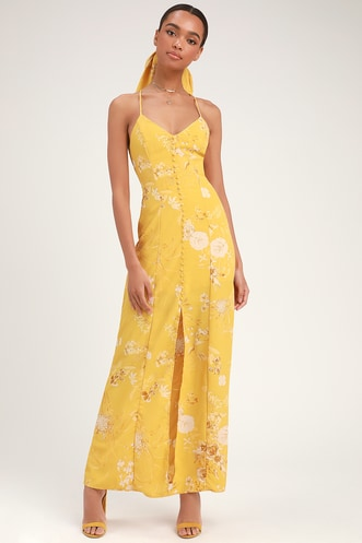 Crista Yellow Print Button-Front Maxi Dress 4bc76f356