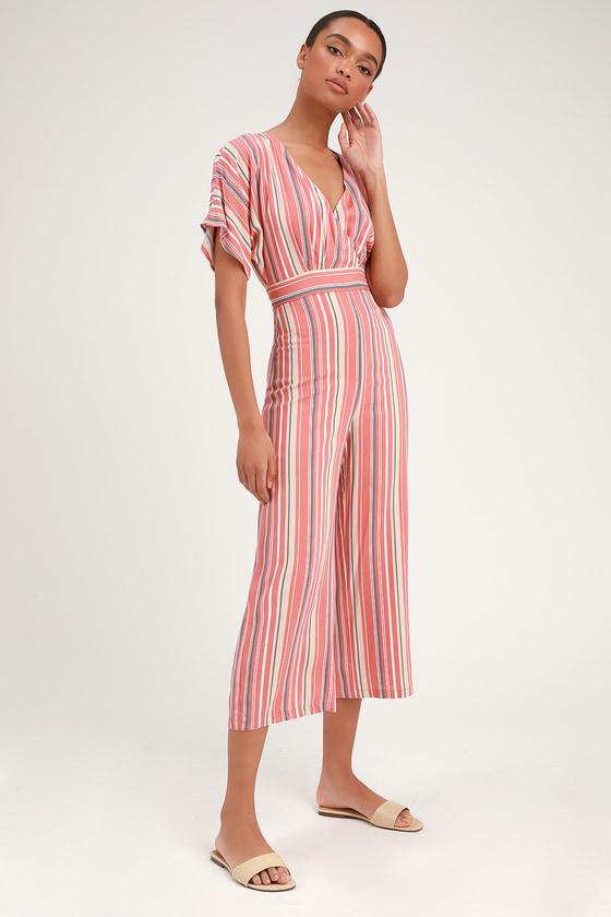 703d8036ddb8 Cute Jumpsuit - Rusty Rose Striped Jumpsuit - Casual Jumpsuit