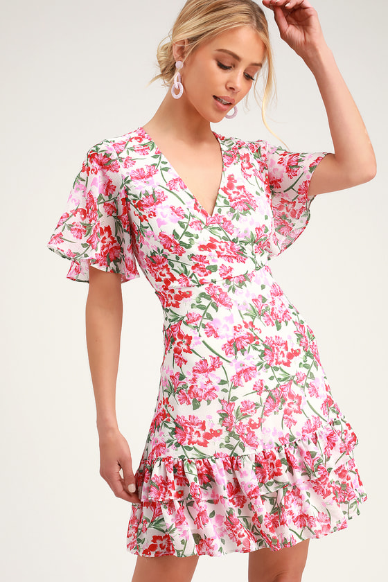 0600f41d93970 Cute Pink and White Dress - Floral Print Dress - Ruffled Dress