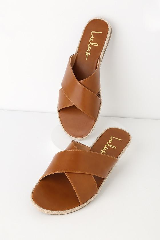 Tan Slide Sandals - Espadrille Slides