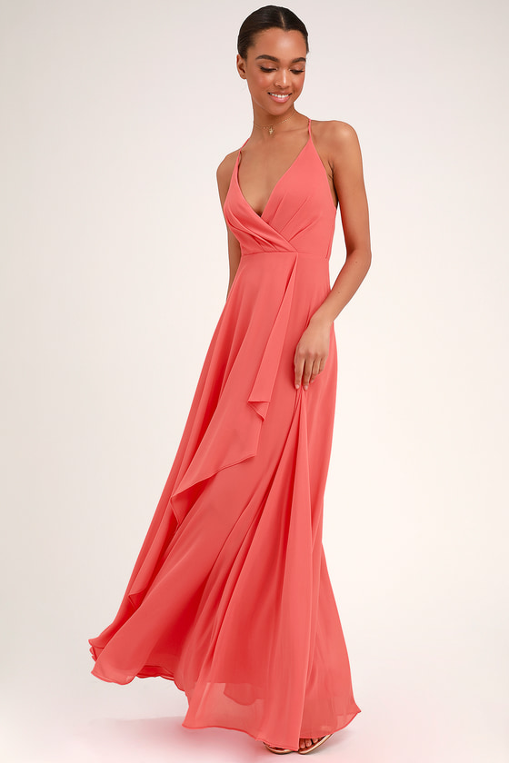 Love Forever Coral Pink Backless Maxi Dress - Lulus