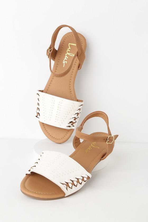c1d2630c473e Cute White Nubuck Flat Sandals - Huarache Ankle Strap Sandal