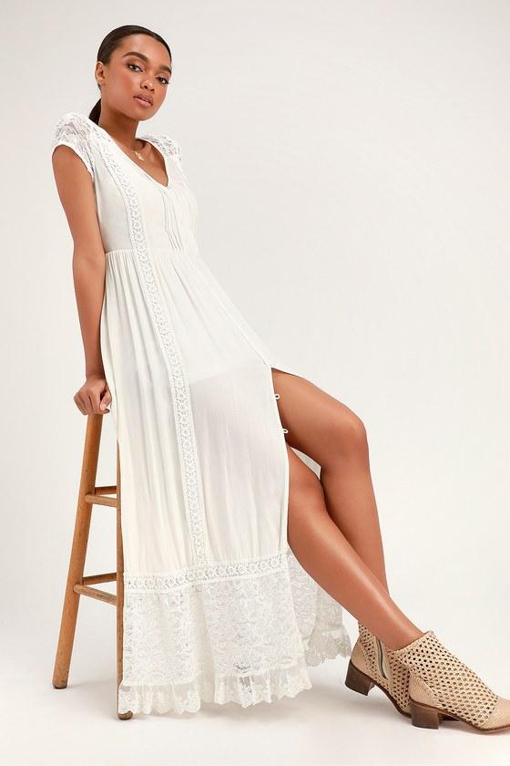 Bermuda White Lace Maxi Dress