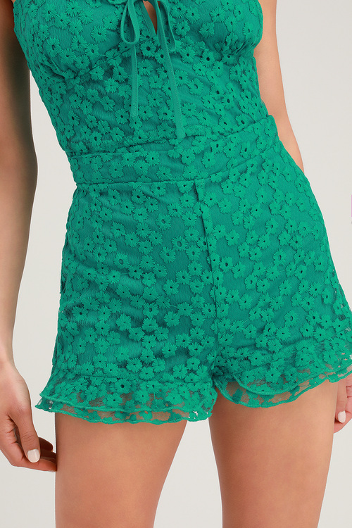Latona Teal Green Embroidered Lace Ruffled Shorts by Lulus