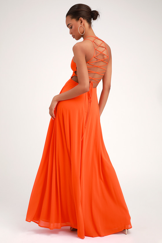 Strappy To Be Here Orange Maxi Dress by Lulus