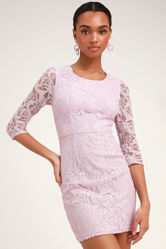 All For You Lavender Lace Bodycon Dress