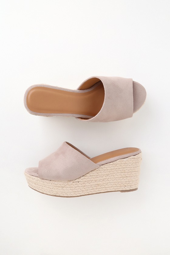 fdc0c8f876d Kait Taupe Suede Espadrille Wedges