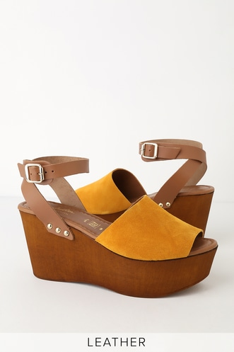 3b6946cdb11 Seychelles Forward Mustard Suede Leather Platform Wedges