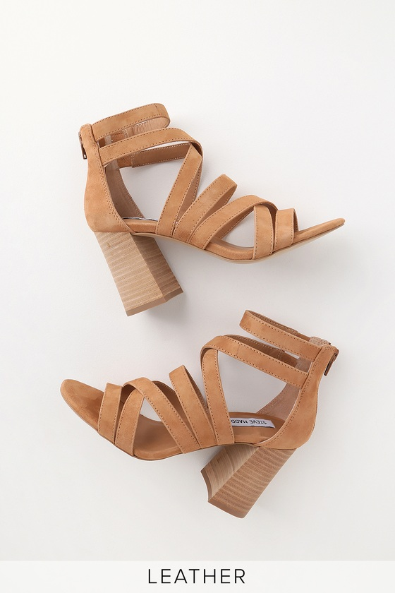 July Tan Suede Leather Caged High Heel Sandals by Steve Madden