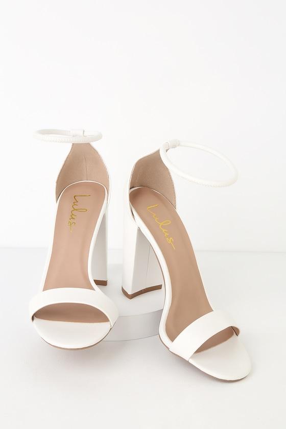 03c169540de5 Cute Ankle Strap Heels - White Heels - Vegan Leather Heels