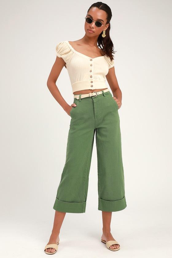 d76fcd8bd2 Cute Olive Green Pants - Denim Cropped Pants - Wide-Leg Pants