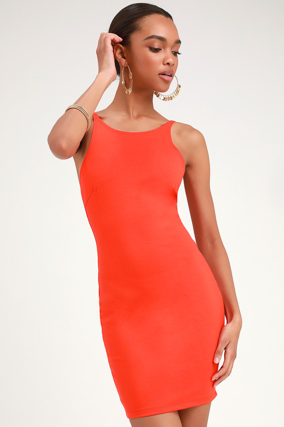 aaa9a35a3b Sexy Red Orange Dress - Bodycon Dress - Sleeveless Dress