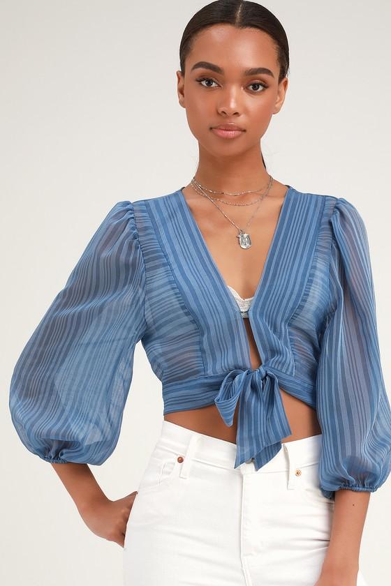 9c1000857c252 Cute Blue Top - Tie-Front Top - Balloon Sleeve Top - Sheer Top