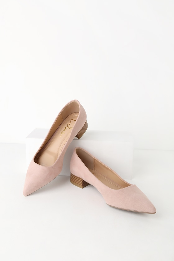 Alessia Blush Suede Low Pointed Toe Heels by Lulus