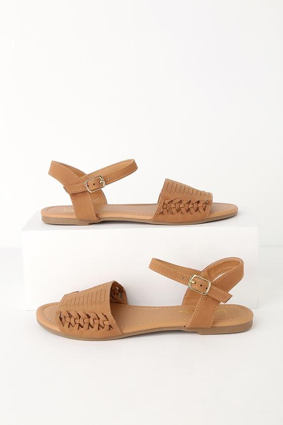 eb22d7793 Cute Camel Nubuck Flat Sandals - Huarache Ankle Strap Sandal