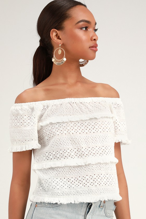 Julia White Eyelet Lace Short Sleeve Top by Lulus