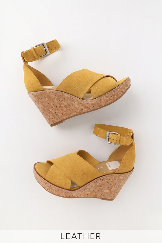 7332f3e6d6 Dolce Vita Urbane Wedges - Yellow Wedges - Genuine Suede Wedges