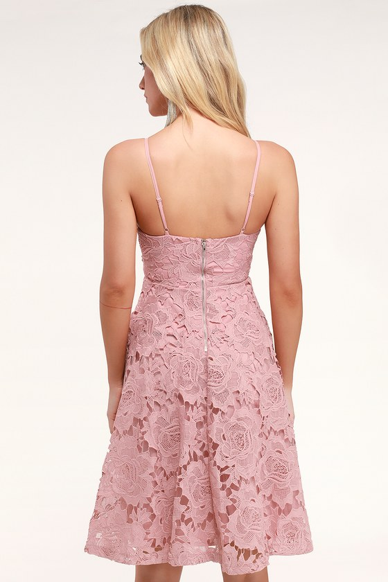 d1b859c976 Pink Dress - Floral Guipure Lace Dress - Dusty Rose Midi Dress