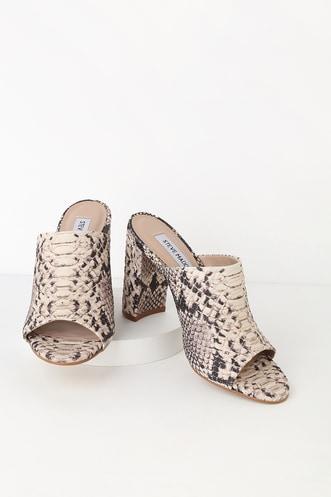 f6579ed5f6a Steve Madden Esmeralda Natural Snake Peep-Toe Mules.  99 · Madeline Black  Suede Leather Platform Sandals