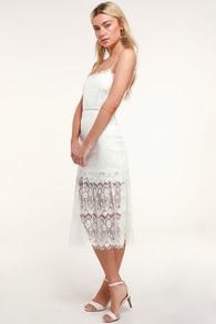 Wagner White Lace Sleeveless Midi Dress efbed39248ac