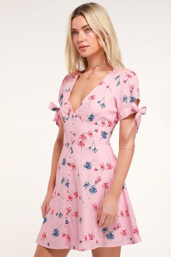 ee8691df16 Cute Light Pink Dress - Floral Print Dress - Short Sleeve Dress