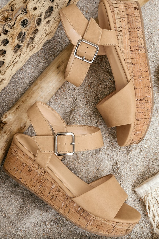 1843c075916c Cute Sand Cork Wedges - Cork Wedge Sandals - Sand Wedges