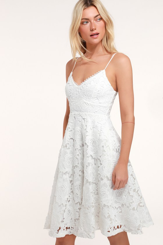 14dc061f579 Pretty White Dress - Floral Lace Dress - Guipure Lace Midi Dress