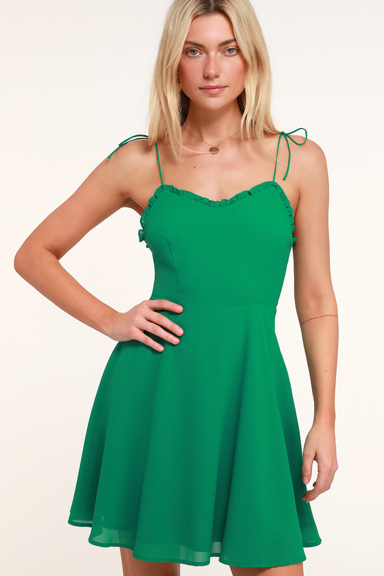 f51bd8abc053 Cute Green Skater Dress - Ruffled Skater Dress - Green Mini Dress
