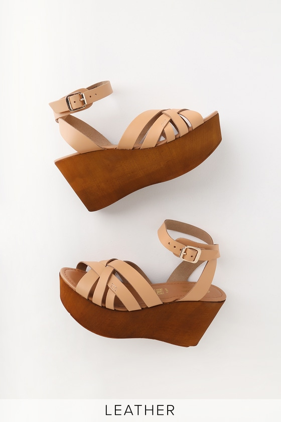268cf7b38d4 High and Low Tan Vacchetta Leather Platform Wedge Sandals
