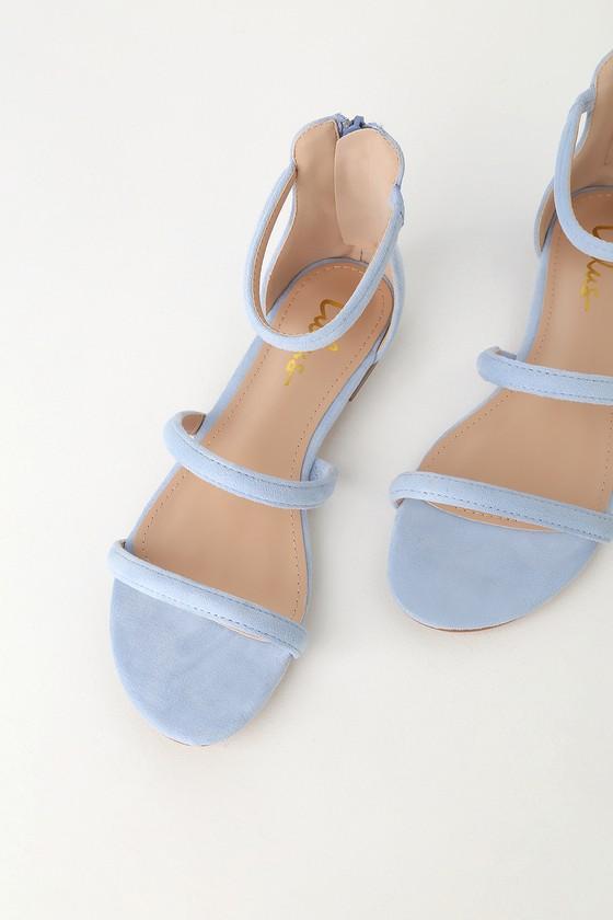 551b06956c Cute Blue Sandals - Flat Sandals - Vegan Suede Sandals