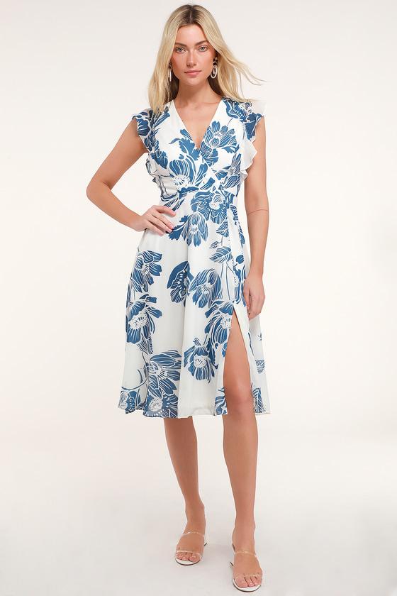 Bliss Seeker Blue and White Floral Print Ruffled Midi Dress