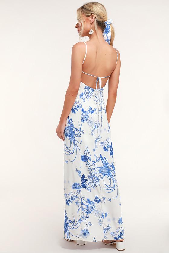 dd15f0f09f7 Blue and White Print Dress - Button Front Dress - Maxi Dress