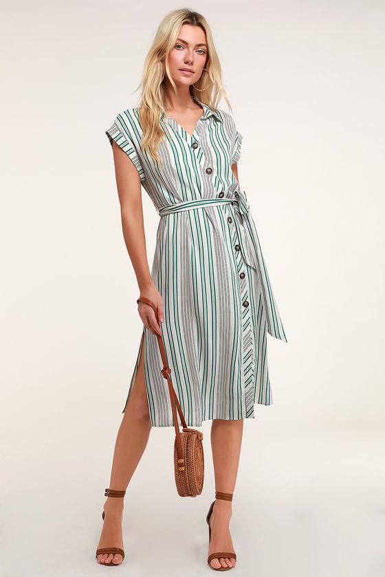 8eb883d2c667 Cute Striped Shirt Dress - Striped Midi Dress - Midi Shirt Dress