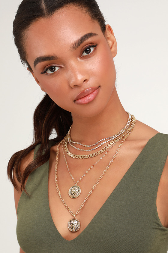 Beatrice Gold Rhinestone Layered Coin Necklace - Lulus