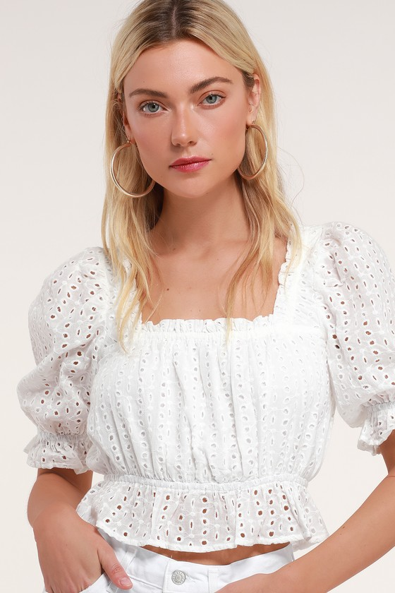 39fa2a1220adfb Cute White Crop Top - Eyelet Lace Crop Top - Puff Sleeve Top