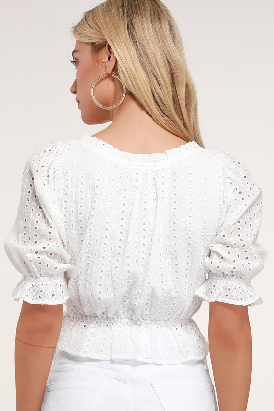 679d8380051 Cute White Crop Top - Eyelet Lace Crop Top - Puff Sleeve Top