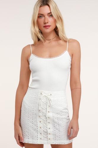 13a87c002 Lulus Adrienne White Eyelet Lace Lace-Up Mini Skirt