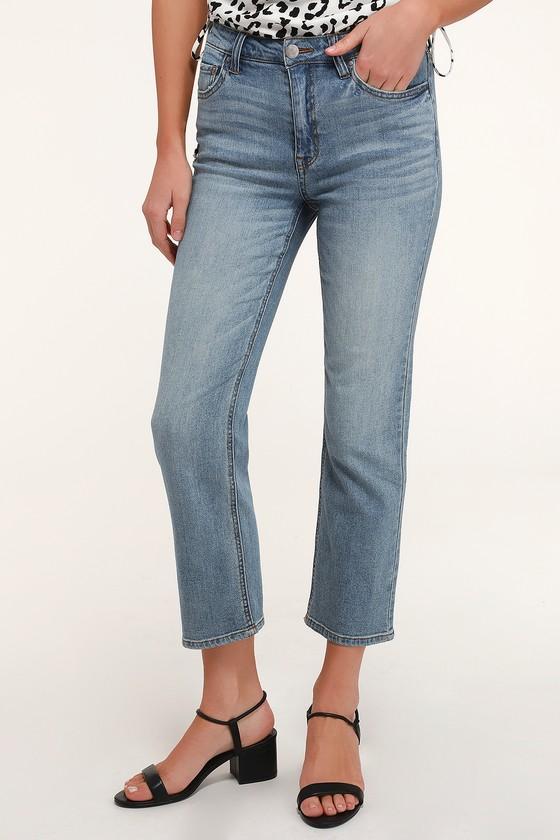 Janine Medium Wash High Waisted Straight Leg Jeans by Lulus