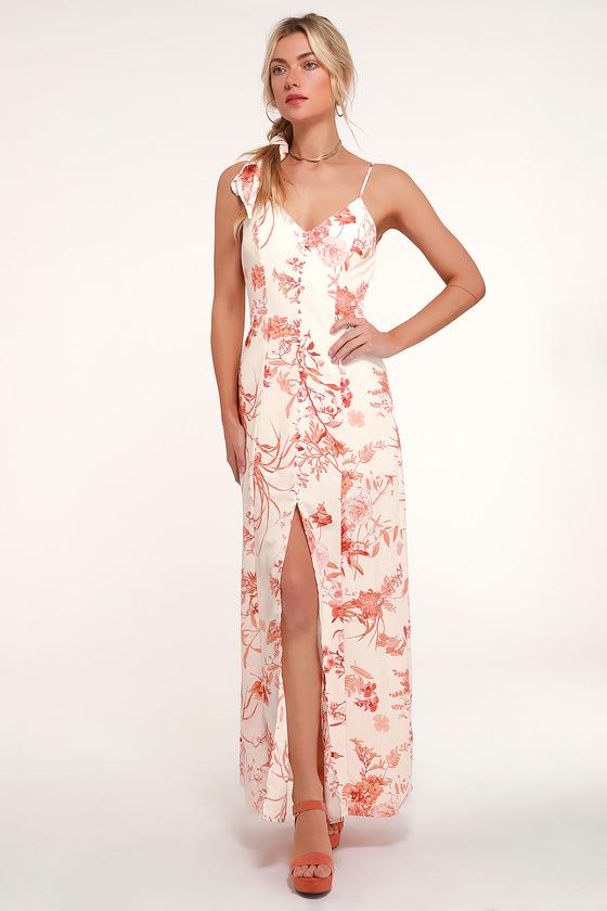 Crista Rust Orange and White Print Button-Front Maxi Dress - Lulus