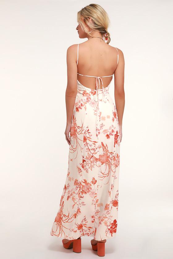 6b60ca88d61 Rust Orange and White Print Dress - Lace-Up Dress - Maxi Dress