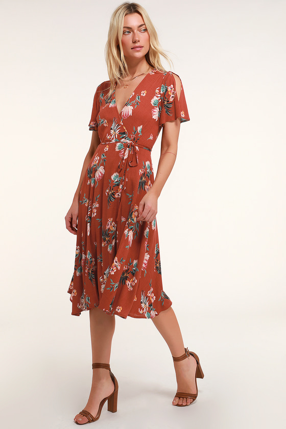 b2ad134da5 Rust Red Tropical Print Dress - Wrap Dress - Wrap Midi Dress
