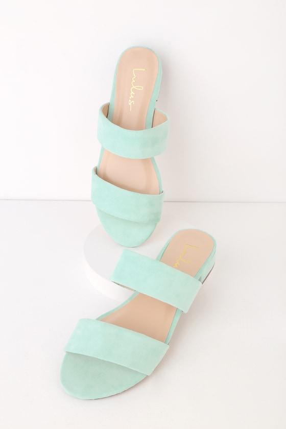 027f6ccf7b08d Cute Slide Sandals - Mint Suede Slides - Vegan Slides