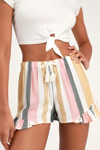 9ef6bf8297b1 Tisley White Multi Striped Ruffle Shorts