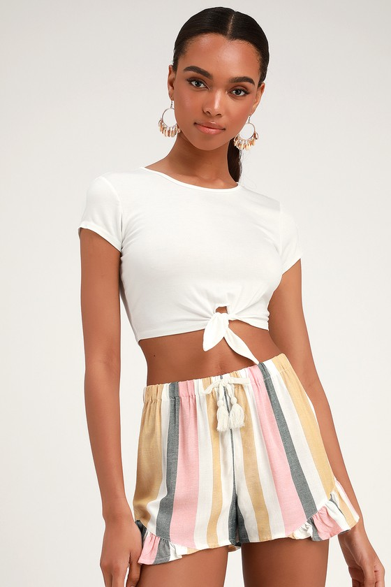 Tisley White Multi Striped Ruffle Shorts - Trendy Summer Outfits