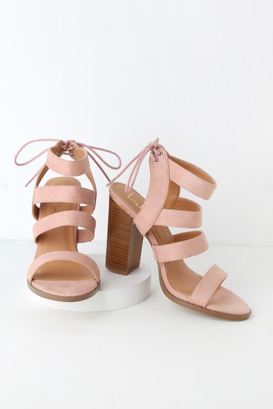 3904eee6da3 Blush Pink High Heel Sandals - Vegan Suede Sandals - Block Heel