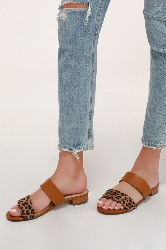 fbebe6fe0e4d2f Cute Leopard Sandals - Two-Strap Sandals - Slide Sandals